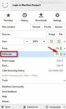 Sử dụng tính năng Adhunter chặn quảng cáo trên Maxthon