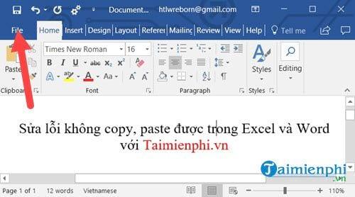 Sửa lỗi không copy, paste được trong Excel và Word 1