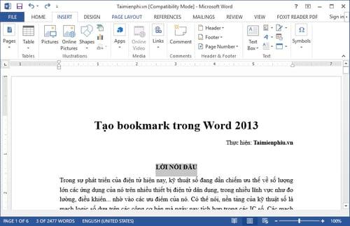 tao bookmark trong word 2013 di toi vi tri bat ky tren trang word nhanh hon 2
