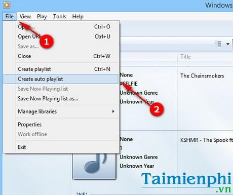 cach tao danh sach phat nhac playlist tu dong trong windows media player