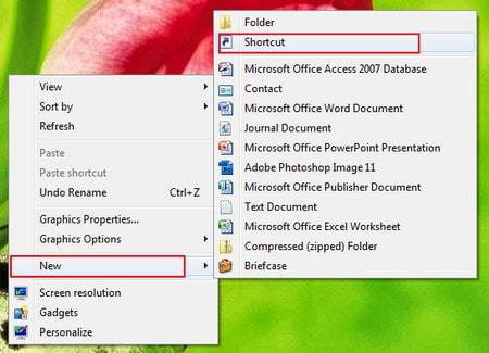 tao icon shutdown hoa restart ngoai desktop