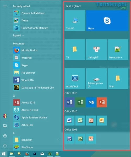 tao thu muc nhom ung dung tren start menu windows 10 2