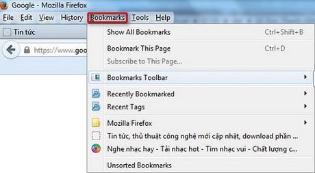 Firefox - Tạo từ khóa trang đánh dấu