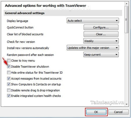 Vô hiệu hóa tính năng shutdown trong TeamViewer