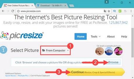 Thay đổi kích thước ảnh trực tuyến bằng Pic Resize