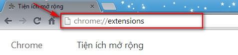 Google Chrome - Thay đổi thiết lập mở rộng