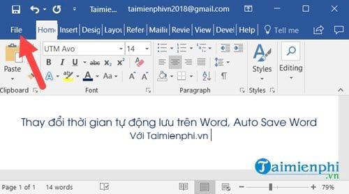thay doi thoi gian tu dong luu tren word auto save word 2