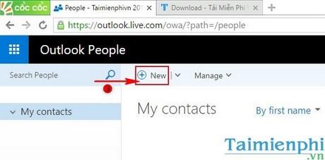 Thêm email mới vào danh bạ Hotmail