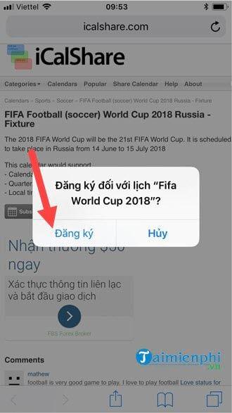 them lich thi dau world cup 2018 vao iphone 2
