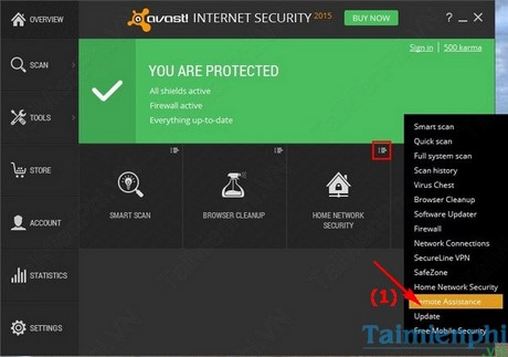ket noi may tinh tu xa bang Avast Internet Security