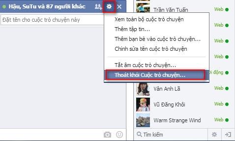 thoat khoi cuoc tro chuyen nhom tren facebook