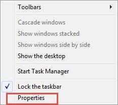 Cách thu nhỏ icon trên thanh trạng thái Taskbar win 7 XP 1