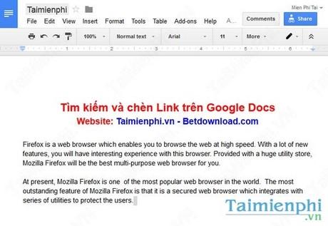 Sử dụng chức năng tìm kiếm và chèn Link trên Google Docs
