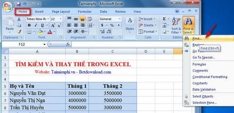 Excel - Tìm kiếm và thay thế trong bảng tính Excel 1
