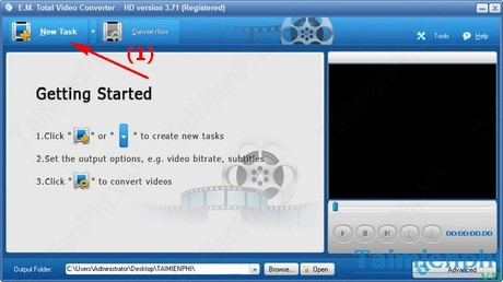 chuyen doi video sang avi, swf, mkv, mov, mpeg, gif bang Total Video Converter