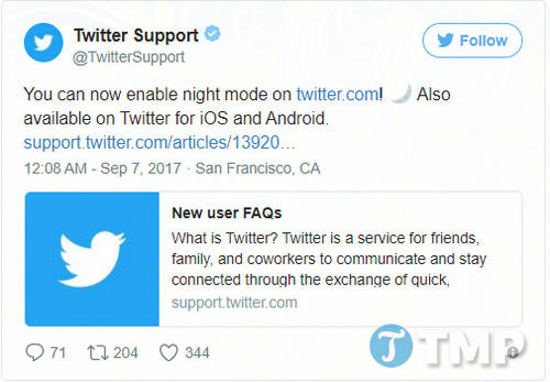 twitter chinh thuc phat hanh tinh nang night mode tren linux mac va windows 2