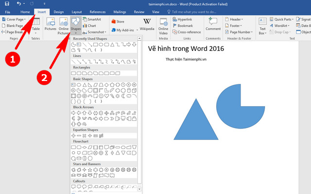 ve hinh trong word 2016