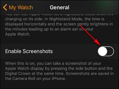 Vô hiệu hóa chụp ảnh màn hình trên Apple Watch