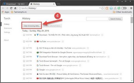 Xóa dữ liệu duyệt web trên Torch Browser