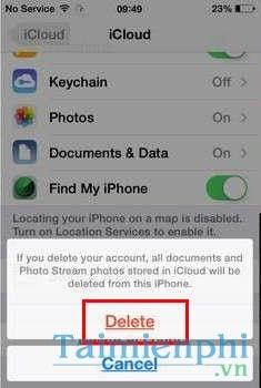 delete tai khoan icloud tren iphone
