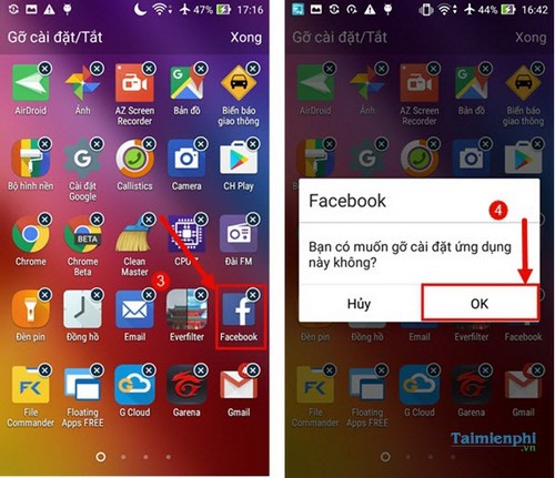 xoa ung dung tren dien thoai android
