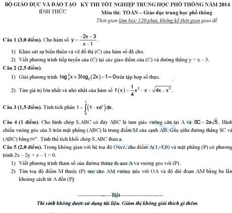 đề thi môn toán 2014