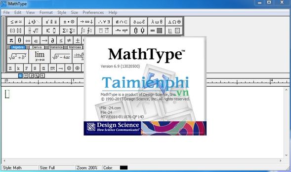 Phần mềm công thức toán học MathType 9.9